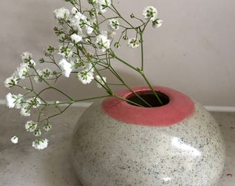 Hand Made Ceramic Vase Pink and Pepper