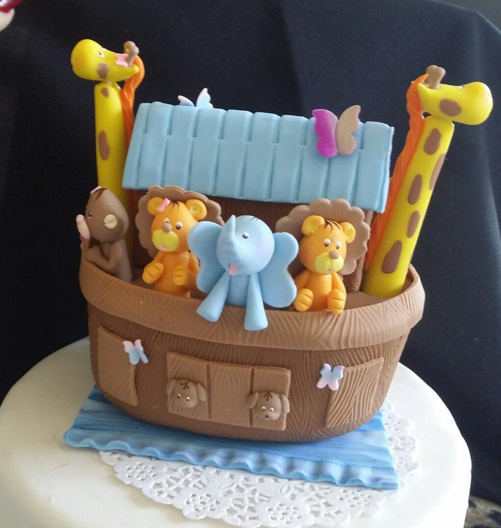 noah 39 s ark cake decoration noah 39 s ark baby shower ark cake topper ark with animals topper. Black Bedroom Furniture Sets. Home Design Ideas