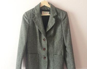 1970s 1980s Tweed Jacket | Vintage Fall Jacket | S M 7/8