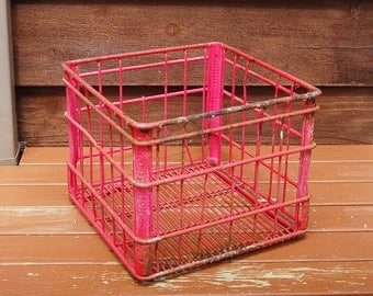 Wire Milk Crate, Vintage Heavy Galvanized Wire Crate, Pink Painted Milk Bottle Crate, Hood Milk Crate Farm Crate
