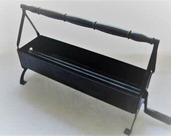 Newspaper Log Roller - Black Metal - Black Wood Handles - Fireplace Accessory - Rustic Cabin Decor
