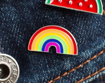 Rainbow Pin, Retro Pin Badge, 80's Pin, Multicolour Pin, Peace (V2)