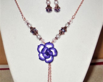 Purple Rose Necklace & Earrings Set