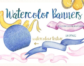 Premium watercolor Banners. Watercolor clip art. wedding crest elements. Banners, Boho style. Watercolour texture. Logo, watercolor lable