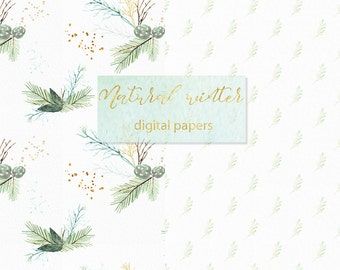 DIGITAL PAPER Natural winter forest. PINE watercolor paper Winter watercolor, mint green, branches, wedding invitation, wood.