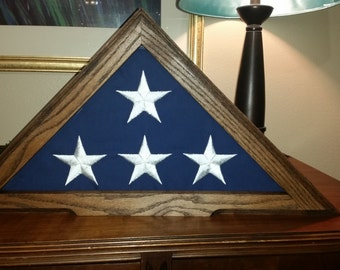 Solid Red Oak Flag Case for 5  x  9.5 burial flag