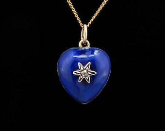 Rare Georgian diamond and blue enamel locket pendant