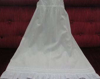Vintage Edwardian Christening Slip White Cotton/Pin Tucks/Embroidered Inset/Broderie Anglaise Ruffle  #17084