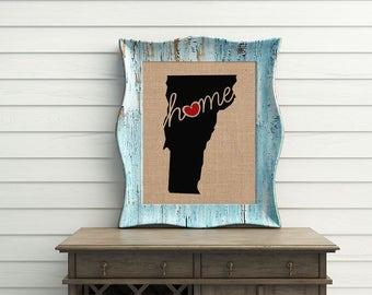 "Vermont (VT) ""Love"" or ""Home"" Burlap or Canvas Paper State Silhouette Wall Art Print / Home Decor (Free Shipping)"