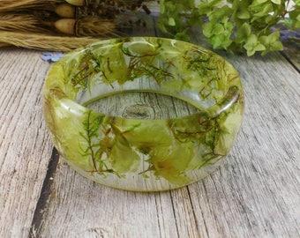 White wedding jewelry gift Nature bracelet Twig bangle Real flower bangle bracelet Wedding bracelet Gift For Woman Nature jewelry leaf