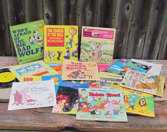 Vintage Set of 22 Children's Classic Read-Along Books and 33 RPM Records