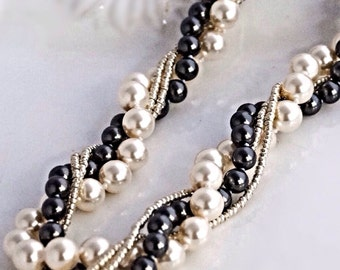 Black and White Necklace Chunky Pearl Jewelry Black Pearl Necklce White Pearl Necklace Black White Jewelry Black Wedding Jewelry Bridesmaid