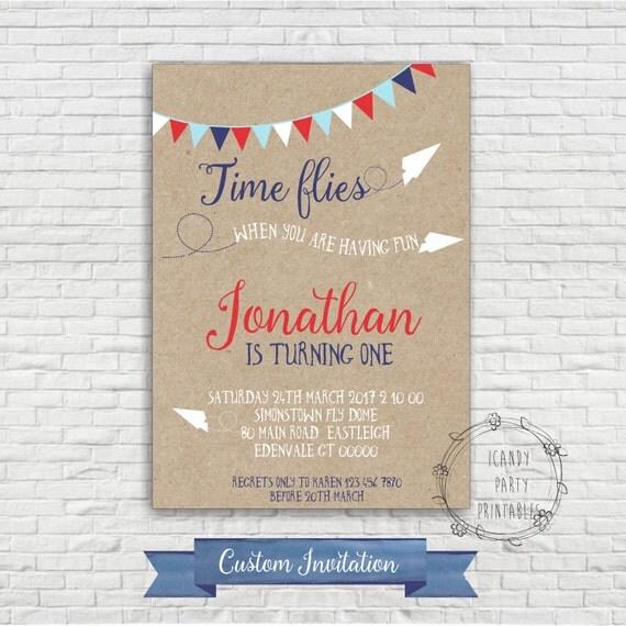 Airplane Birthday Invitation, Time Flies Paper Airplane
