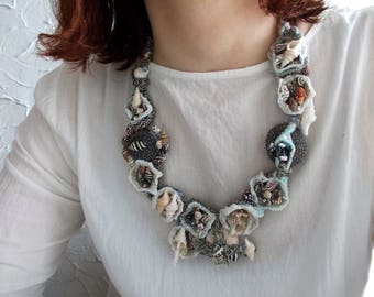 Sea necklace...OOAK, Hand wrapped tribal bib necklace with handmade beads with shells, sea urchins and snails, Rustic boho summer necklace.