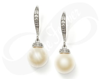 Pearl Earrings Cream Pearl Earring for Bridesmaid Swarovski Pearls
