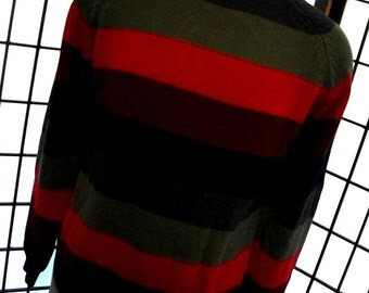 Jantzen men's colorful striped big and comfy cotton crew neck sweater large l