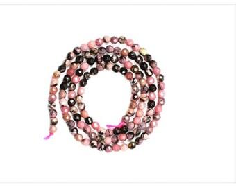 Pink Gemstones / Rhodonite Faceted Round Gemstones / 3mm Gemstones / Jewellery Making Beads / Craft Supply Beads / Loose Gemstones /XZGP38