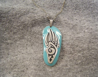 Free Shipping*, Bear Claw Necklace, Indian Style Jewelry, Boho Necklace, Western, Gift Idea, Men, Women, Teens, silver, Turquoise, #80327-1