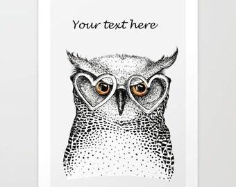 Personalized Owl print, owl illustration, bird print, bird art, bird lover gift, wildlife print, owl decor, nursery decor, animal lover gift