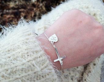 Cross bracelet.925 sterling silver. Personalised bracelet .Christian jewellery .baptism conformation bracelet.