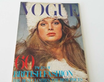 Rare Vintage 1969 Vogue Magazine Jean Shrimpton Cover David Bailey Twiggy Fashion Beauty
