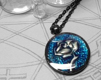 Blue Single Rose : hand embossed repoussé metal pendant necklace