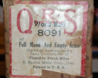 """Player piano roll, """"Blue Moon and Emty Arms"""" played by Frank Milne, Q.R.S. No. 8091 1946, Piano Concerto No. 2  Free mailing in U.S."""