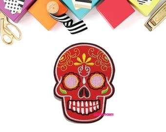 Red Sugar Skull Ghost Halloween Patch New Sew / Iron On Patch Embroidered Applique Size 6.9cm.x9.1cm.