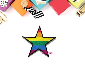 Star Rainbow Color New Sew / Iron On Patch Embroidered Applique Size 8.4cm.x8.5cm.