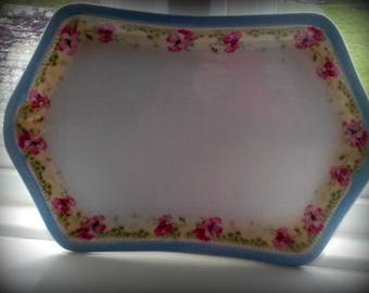 Vintage flowers Porcelain 30's Vanity tray Blue and Pink Flowers