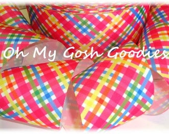 "BRIGHT EASTER PLAID grosgrain ribbon -  3"" - 5 Yards - Oh My Gosh Goodies Ribbon"