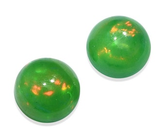 Ethiopian Welo Green Opal Loose Gemstones Set of 2 Round Cabochons 1A Quality 5mm TGW 0.45 cts.