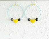 Colorful Hoop Earrings Origami Heart Large Hoops Valentine's Jewelry Paper Blue Yellow Fuchsia Earrings Eco Friendly Upcycle Vegan Earrings