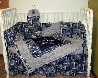 New Crib Nursery Bedding m/w Dallas Cowboys Fabric