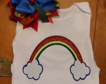Rainbow shirt/onesie and bow set