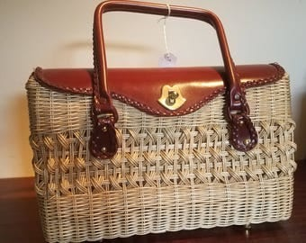 Wicker and Leather Purse  made by Princess Charming by Atlas