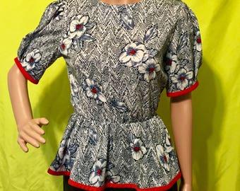 1980s Peplum Floral Puff Sleeve Top, S
