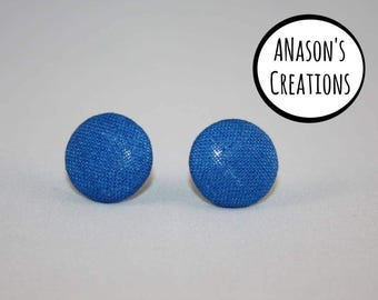 Blue Fabric Covered Button Stud Earrings - Hypo-Allergenic Surgical Steel