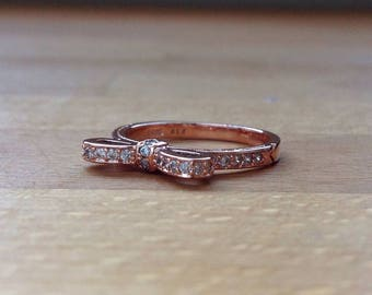 Rose gold sparkling bow ring
