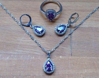 Silver plated pear-cut purple amethyst and clear crystal jewellery set