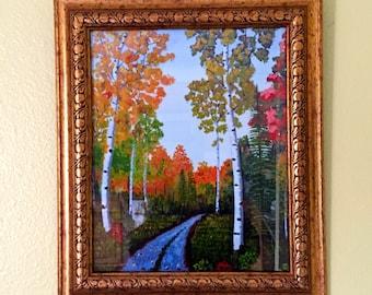 Autumn Print of my Original, Birch Tree, Trail Painting, Aspen Tree, Gift Idea, Housewarming, Mother's Day Gift, MelidasArt