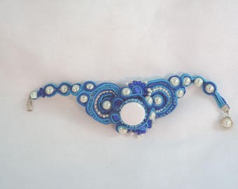 Unique statement blacelet fine art jewelry bead crocheted rope ribbonl bead beaded bracelet blue white turqouise