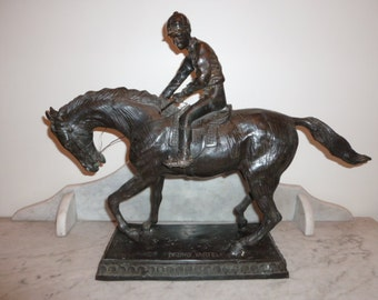 Exquisite French mid 20th Century bronze sculpture statue jockey and horse by BRUNO YARTEL circa 1950