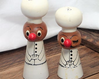 Wooden Salt and Pepper Shakers Vintage, Little Chefs Salt and Pepper Shakers, Unique Salt and Pepper Shakers, Chef Salt and Pepper Shakers