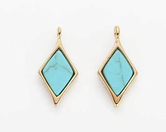 Turquoise Diamond pendant, 8x17mm Marble Diamond earring pendant with 1 drilled hole - 2 Pieces [G0230-TQ]