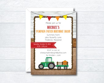 Pumpkin Patch Tractor Birthday Invitations - Pumpkin Patch Birthday Invitations - Tractor Birthday Invitations - Printable File