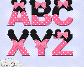 MOUSE ALPHABET LETTERS -  Pink Mouse Digital Letters, Mouse Alphas, Pink Minnie Mouse Alphas, 8.5x11,  - Instant Download