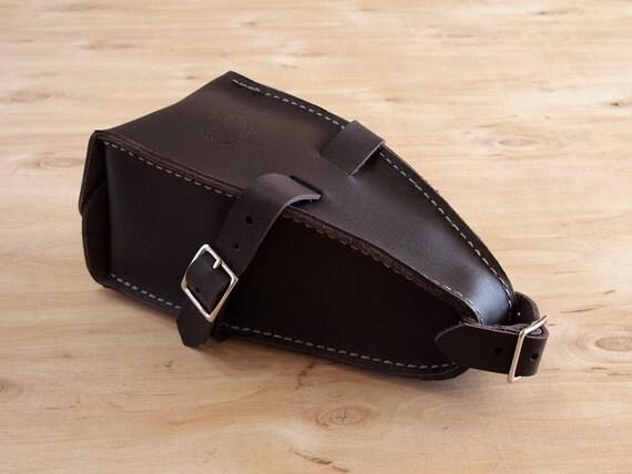 Leather Bicycle Wedge Bag, Dark Brown