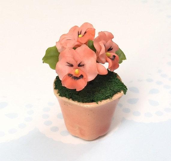 Miniature Flower,Miniature Flower Pot,Miniature Vase,Dollhouse Flower,Miniature Garden,Dollhouse Flower Pot,Miniature Orange Pansy Flower