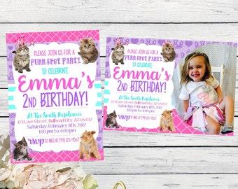 Kitten Princess Personalized birthday invitation-  ***Digital File*** (Kitten-prncess)